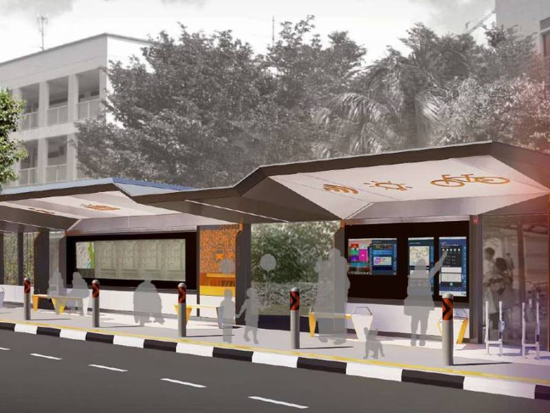 The futuristic bus stop in Singapore has charging points. Photo: Land Transport Authority Singapore's Facebook
