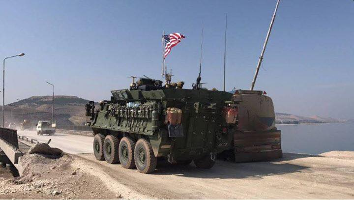 US military vehicles en-route to Syrian city of Manbij.