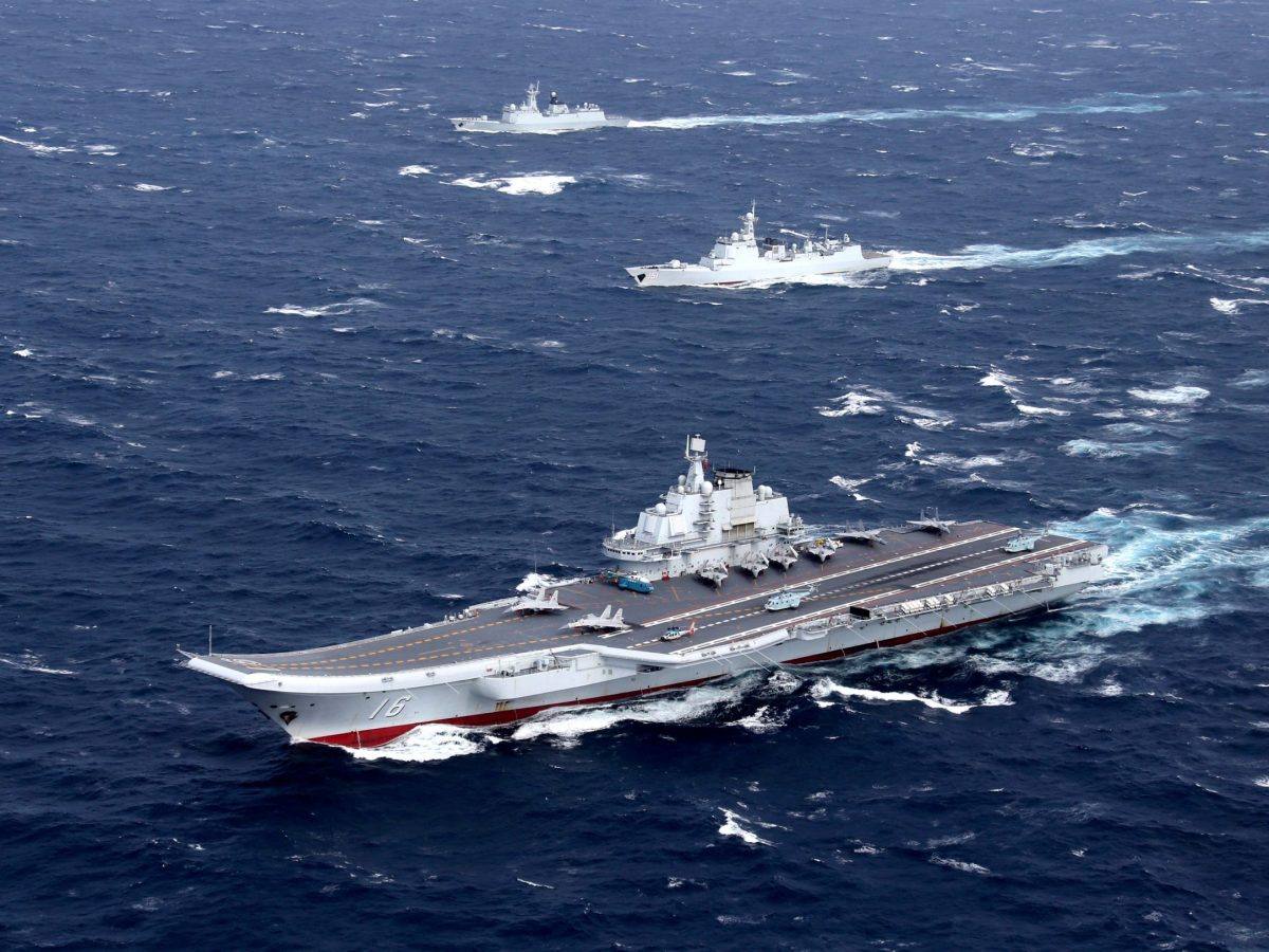 China's Liaoning aircraft carrier with accompanying fleet. Photo: Reuters