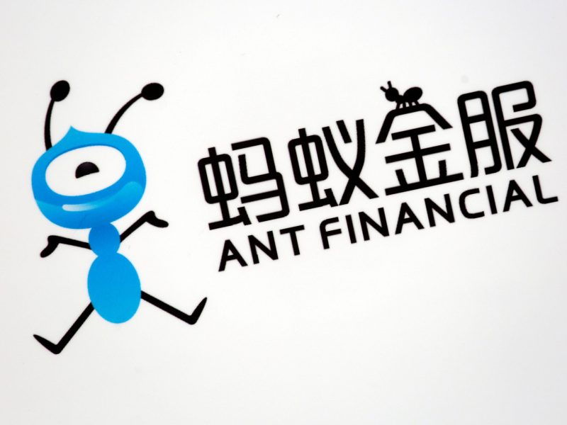 A logo of Ant Financial is displayed at an event of the company. Photo: Reuters/Bobby Yip