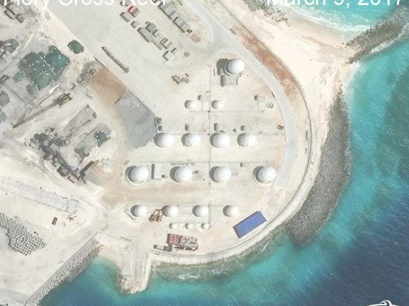 Construction is shown on Fiery Cross Reef in the Spratly Islands in this  satellite image. Photo: CSIS/AMTI DigitalGlobe handout via Reuters