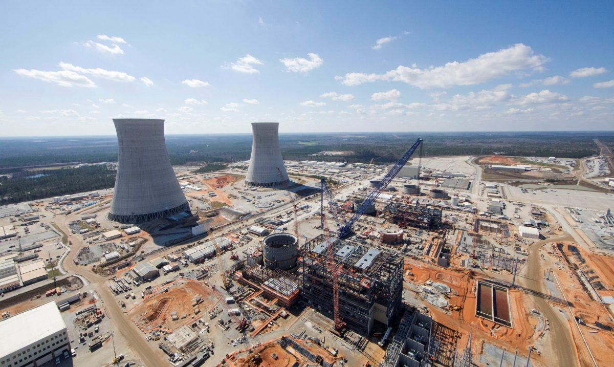 The Vogtle nuclear plant being built by Westinghouse, a unit of Toshiba, near Waynesboro, Georgia, U.S. is seen in an aerial photo taken February 2017.  Georgia Power/Handout via Reuters