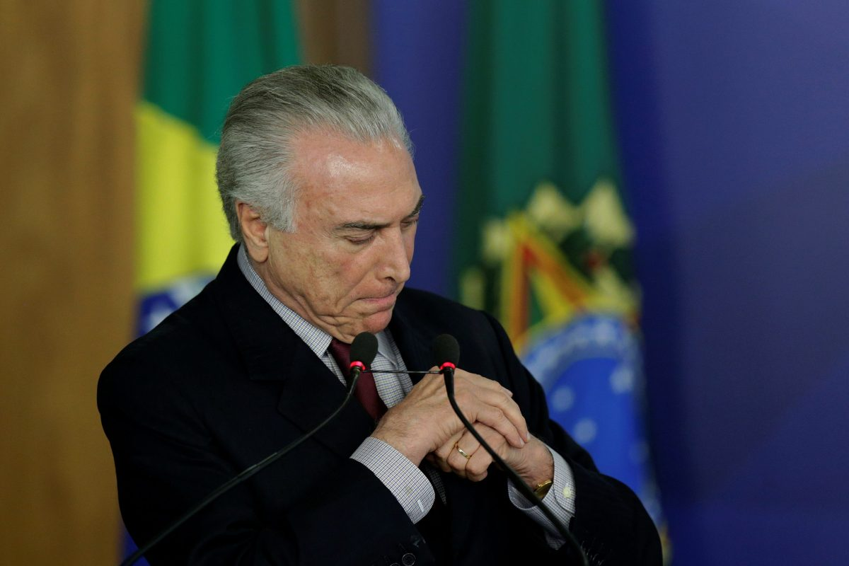 Brazil's President Michel Temer. Photo: Reuters / Ueslei Marcelino