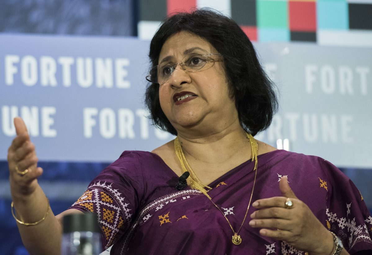 Arundhati Bhattacharya, the first woman chairman of the State Bank of India, talks about the outlook of India on the Fortune Most Powerful Women summit on February 28, 2017. Photo: Fortune