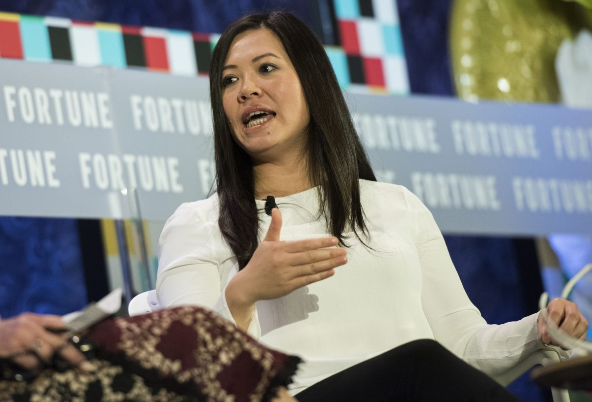 Tan Le, Founder and CEO of EMOTIV speaking to the audiences on the Fortune Most Powerful Women International Summit 2017. Photo: Fortune