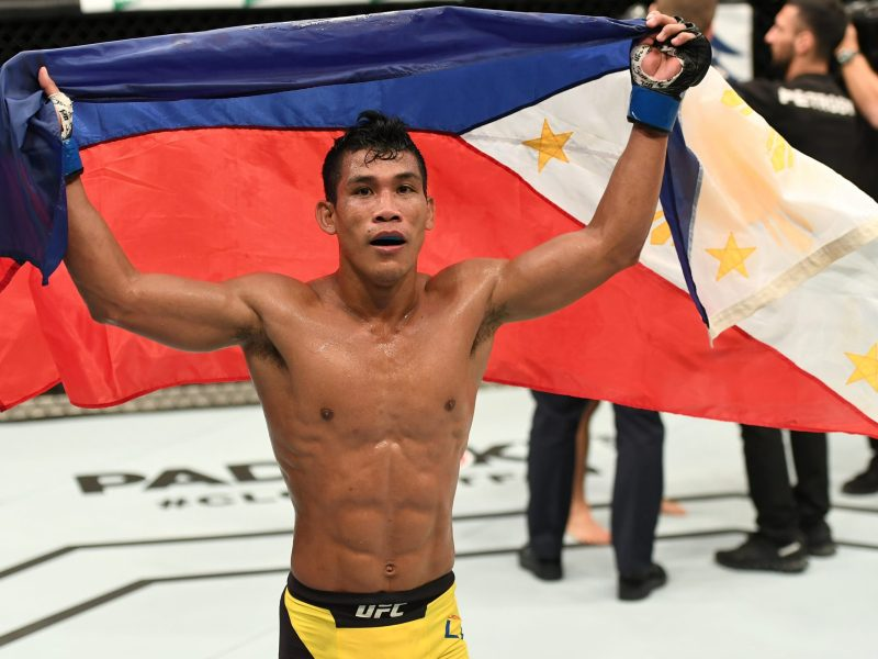 Jenel Lausa of Philippines celebrates after the conclusion of his flyweight bout against Yao Zhikui of China during the UFC Fight Night event at Rod Laver Arena on November 27, 2016 in Melbourne, Australia. Photo: Jeff Bottari/Zuffa LLC/Zuffa LLC via Getty Images)