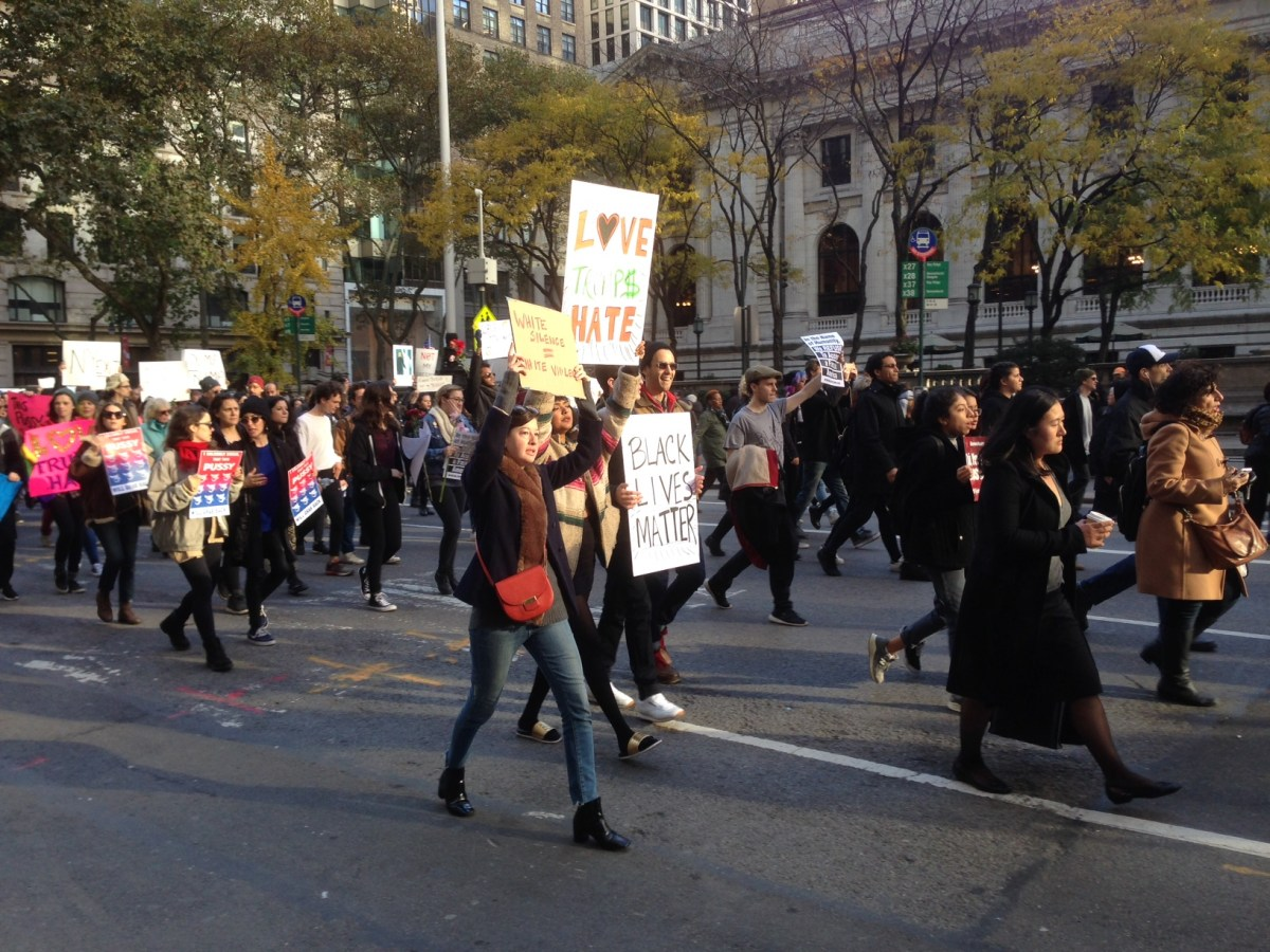 A recent anti-Trump demonstration in New York City (Midtown Manhattan). Photo: Asia Times/Doug Tsuruoka