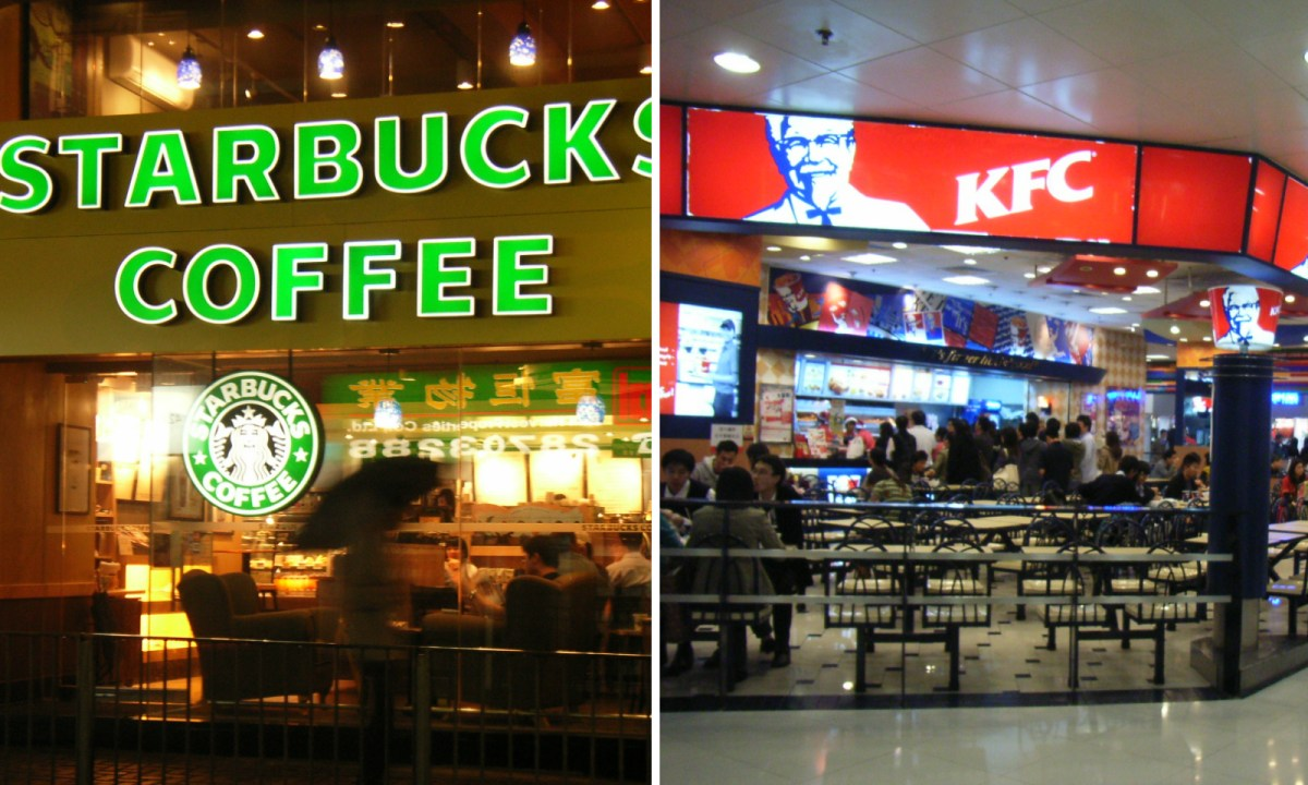 Hong Kong's KFC and Starbucks will stop serving food with Brazilian meat. Photo: Wikimedia Commons