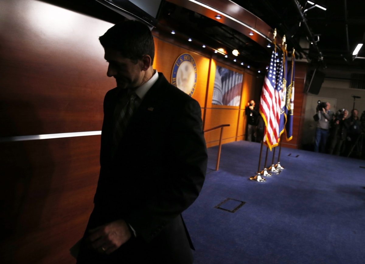 House Speaker Paul Ryan (R-WI) departs a news conference held after Republicans pulled  the American Health Care Act bill. Photo: Reuters, Jonathan Ernst