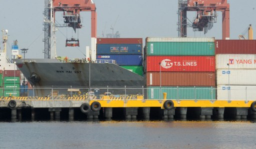 The cargo ship Wan Hai arrives at Manila's international container port. Photo: AFP, Jay Directo