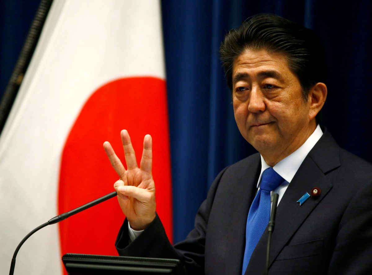 Three strikes and you're out. Japanese Prime Minister Shinzo Abe's courtship of Donald Trump appears to be unraveling. Photo: Reuters / Thomas Peter