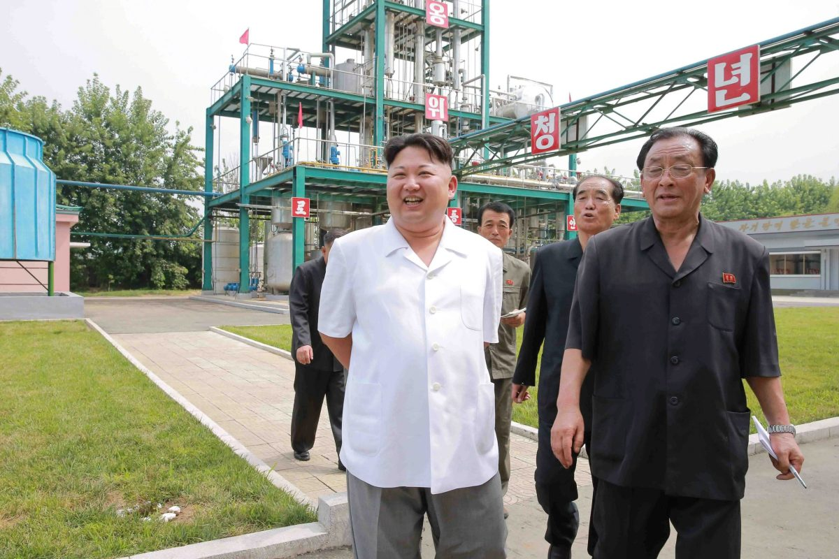 North Korean leader Kim Jong-un visits the Sunchon Chemical Complex in this undated image. Photo: KCNA via Reuters