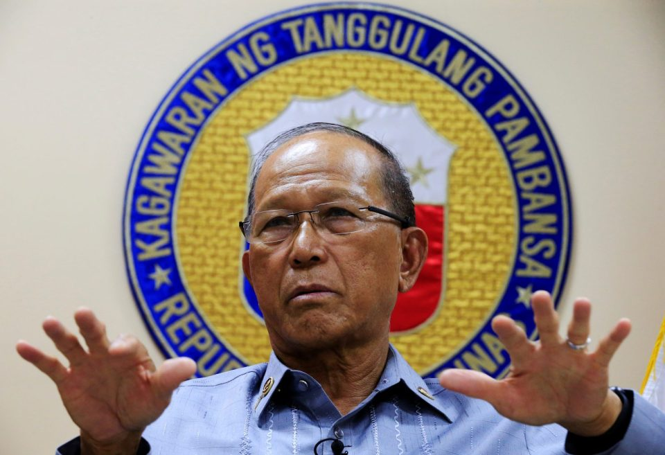 Philippine Defence Secretary Delfin Lorenzana gestures during a Reuters interview at the military headquarters of Camp Aquinaldo in Quezon city, metro Manila, Philippines February 9, 2017. REUTERS/Romeo Ranoco - RTX30A9V