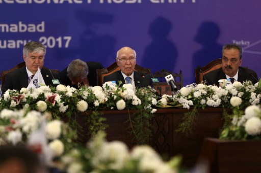Adviser to Pakistan's Prime Minister on Foreign Affairs, Sartaj Aziz speaks in Islamabad on Tuesday. Photo: Anadolu Agency,  Cem Ozde