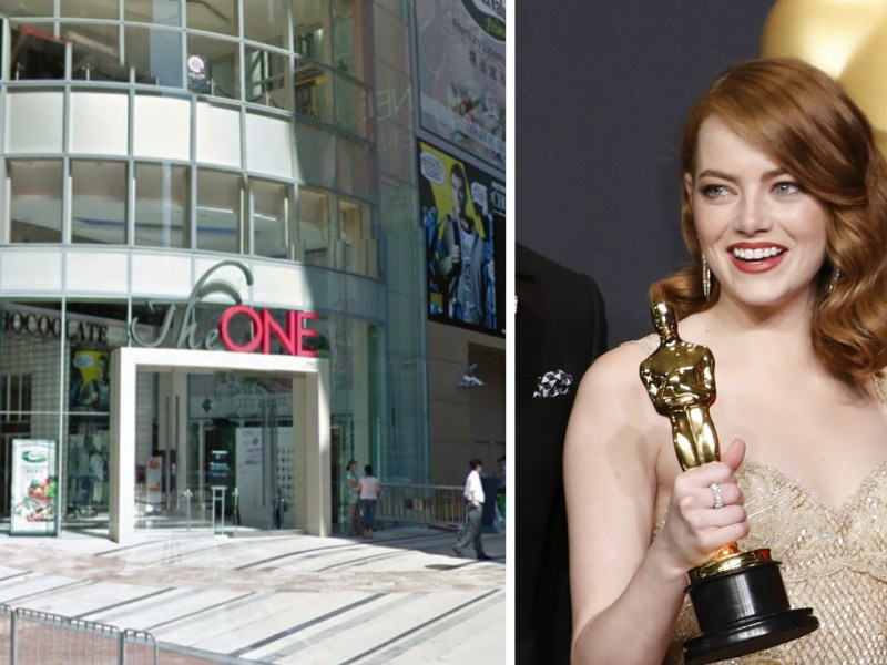 Movie star Emma Stone was asked an impolite question by a Hong Kong entertainment news reporter. Meanwhile, former paparazzi Kimbie Chan was granted a shopping mall from tycoon Joseph Lau. Photo: Google Map, Reuters