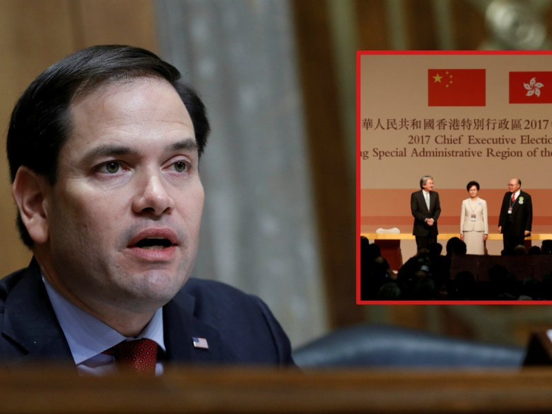 Senator Marco Rubio said Carrie Lam (inset) should take meaningful steps toward political reforms in Hong Kong. Photo: Reuters / Bobby Yip