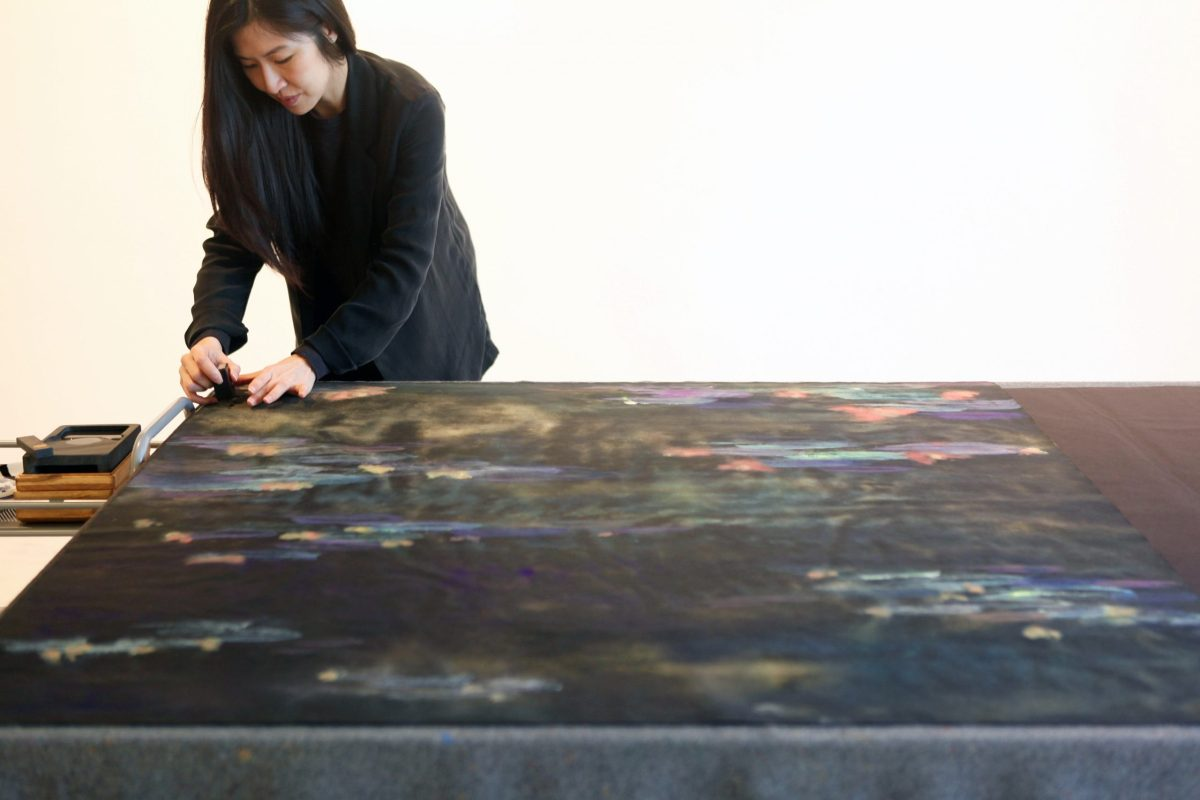 Wang Tingxin: The inception of the world would have been dark. Light was created afterwards. So I thought, why not try to emulate that. Why not try to paint on black surfaces? Photo: Courtesy of Halcyon Gallery
