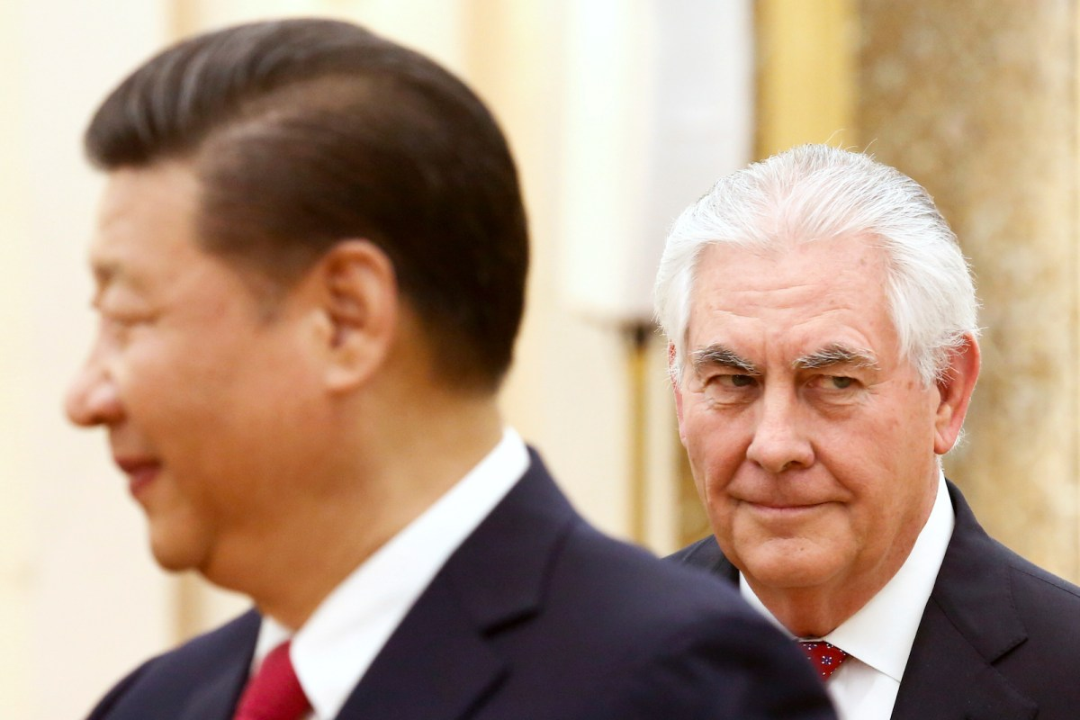 Chinese President Xi Jinping meets US Secretary of State Rex Tillerson at the Great Hall of the People in Beijing on March 19, 2017. Photo: Reuters/Thomas Peter