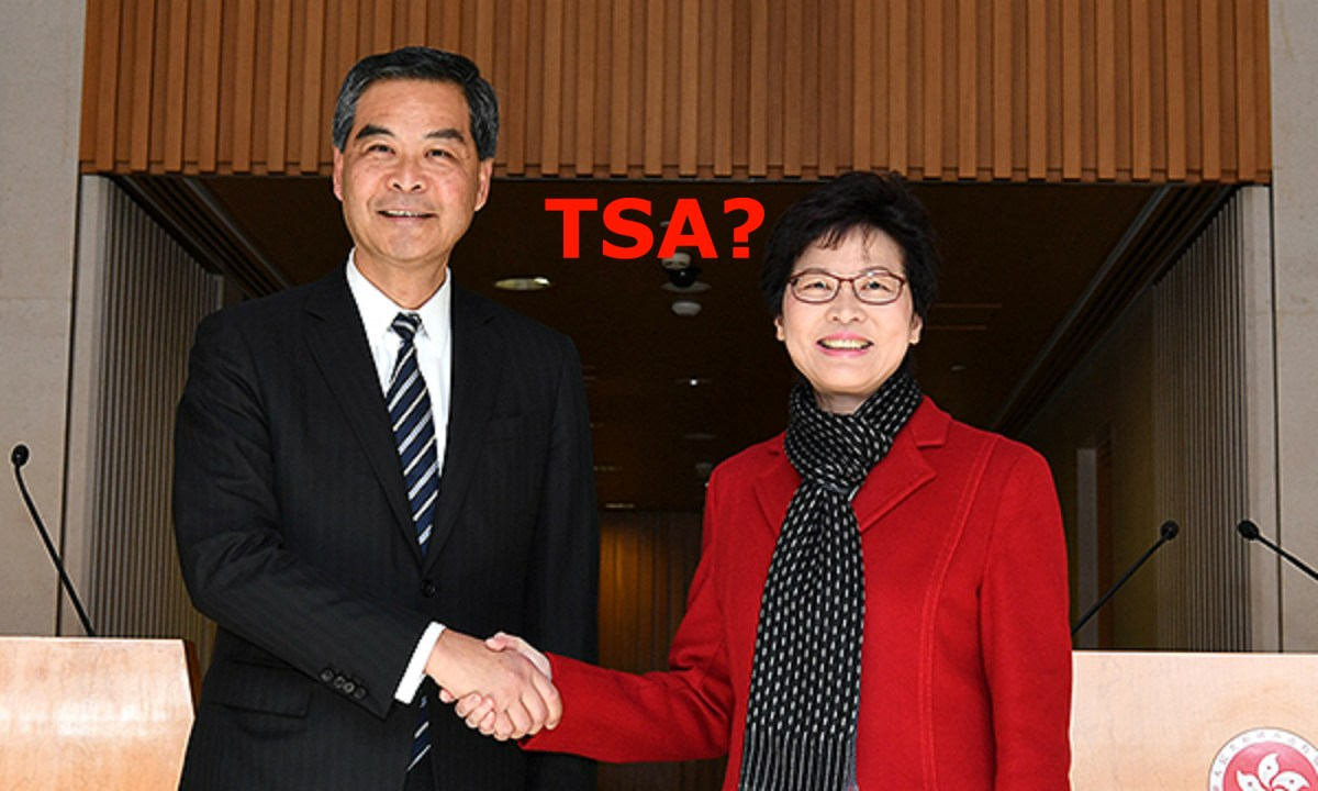 Incumbent Chief Executive Leung Chun-ying and Chief Executive-elect Carrie Lam Cheng Yuet-ngor show disagreement on the city's education policy. Photo: news.gov.hk
