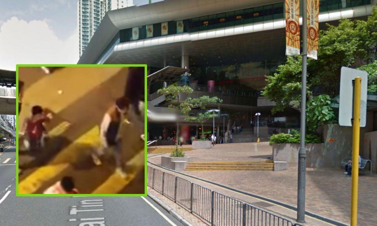 A man ordered his son to walk on his knees outside Kai Tin Shopping Center. Photo: Youtube, Google map