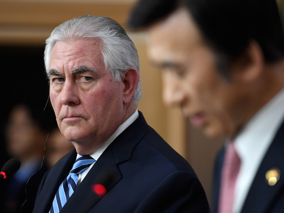 U.S. Secretary of State Rex Tillerson with South Korean foreign minister Yun Byung-Se at a news conference in Seoul March 17. Tillerson said the US is losing patience with the North Korean regime and that all strategic options are open to deal with the reclusive regime's militaristic moves. Photo: Reuters/Jung  Yeon-Je