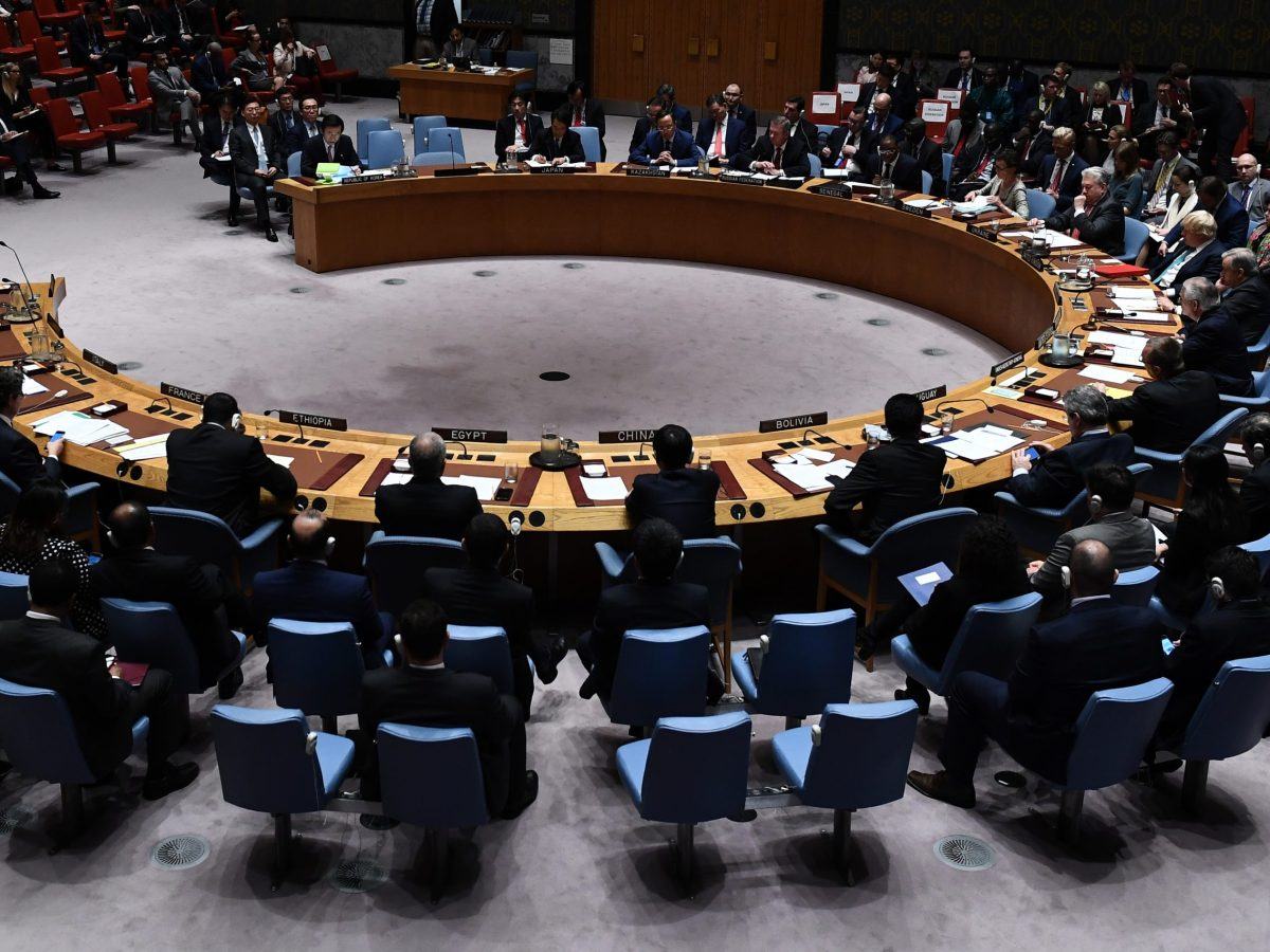 South Korea's Foreign Minister Yun Byung-se (at top left) speaks during a UN Security Council meeting on North Korea that will see China come under heavy pressure to rein in its ally. Photo: AFP