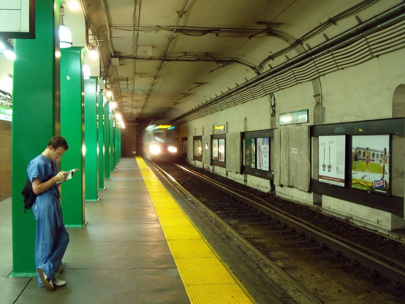 A train approaches an MBTA station. Photo: Wikimedia Commons