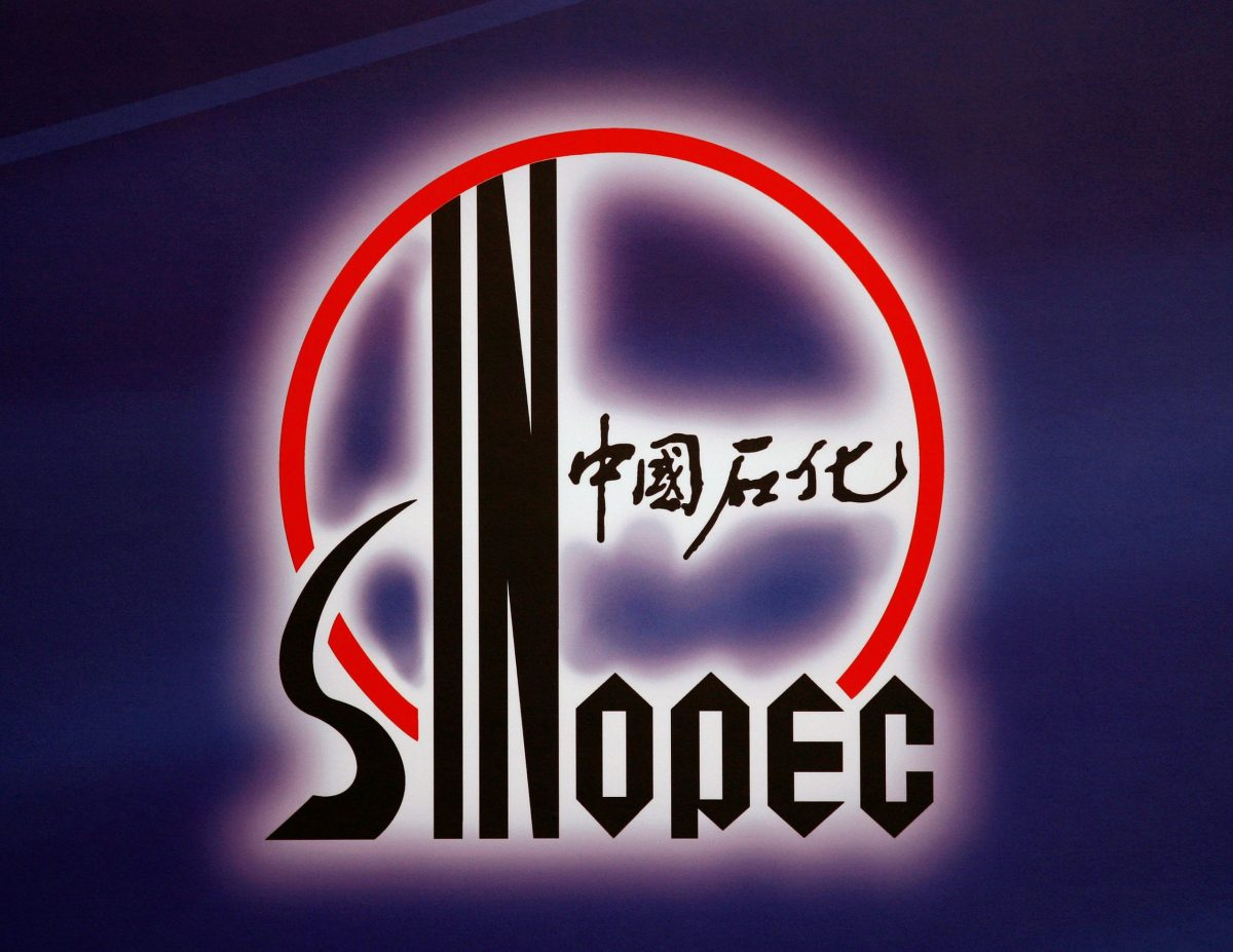 Sinopec is displayed at a news conference in. Photo: Reuters/Bobby Yip