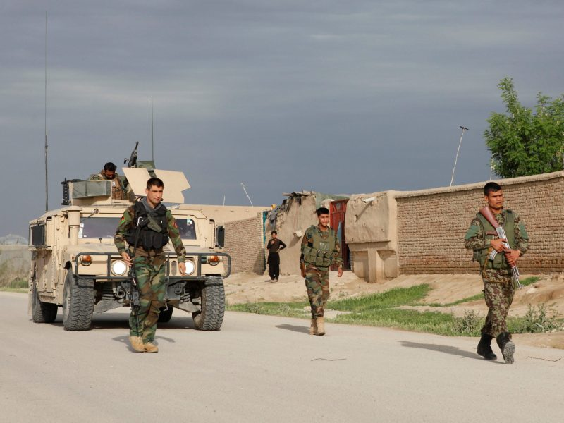 Afghan National Army troops arrive at the site of the attack on the base in Mazar-i-Sharif. Photo: Reuters