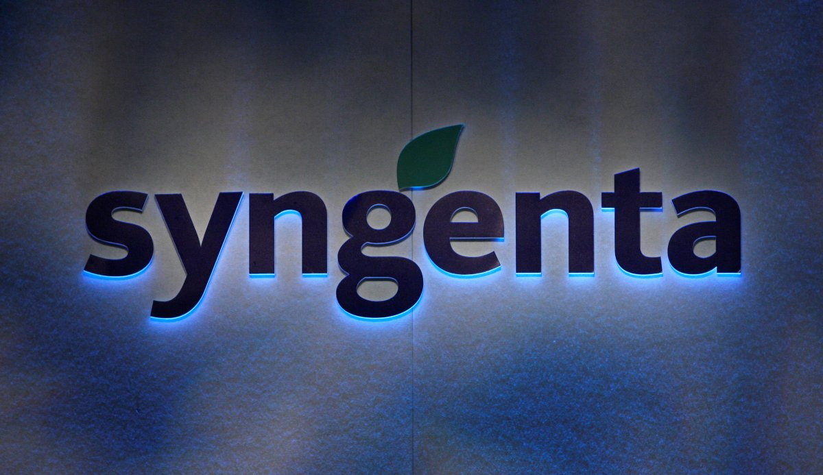 Agrochemicals maker Syngenta's logo. Photo: Reuters/Christian Hartmann