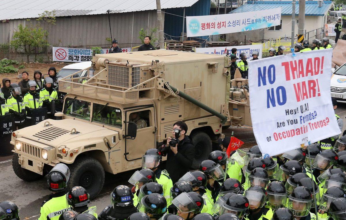 A U.S. vehicle that is part of  the Terminal High Altitude Area Defense (THAAD) system arrives in Seongju, South Korea, April 26, 2017. Kim Jun-beom/Yonhap via Reuters.
