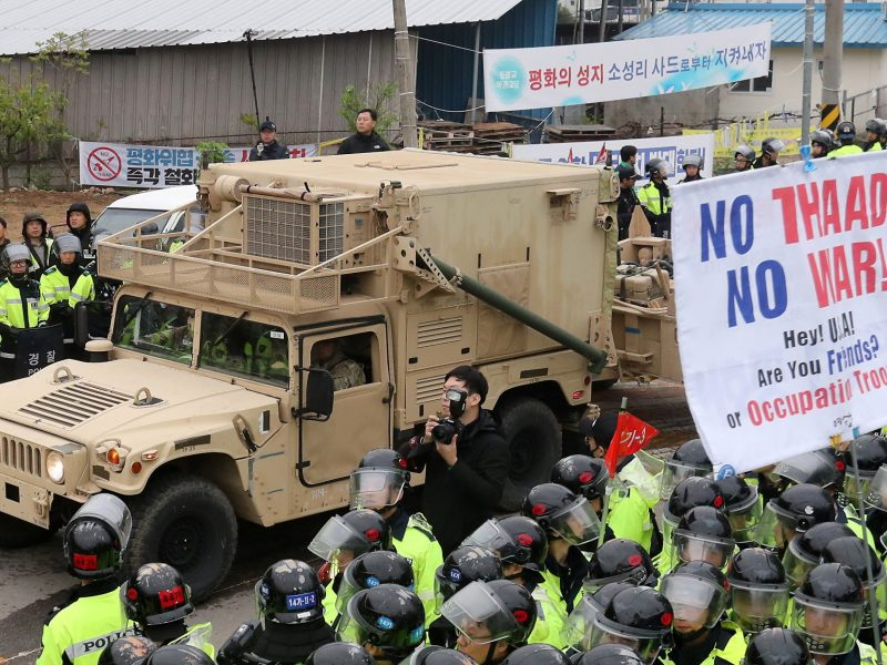 A U.S. vehicle that is part of  the Terminal High Altitude Area Defense (THAAD) system arrives in Seongju, South Korea, April 26, 2017. Kim Jun-beom/Yonhap via Reuters.