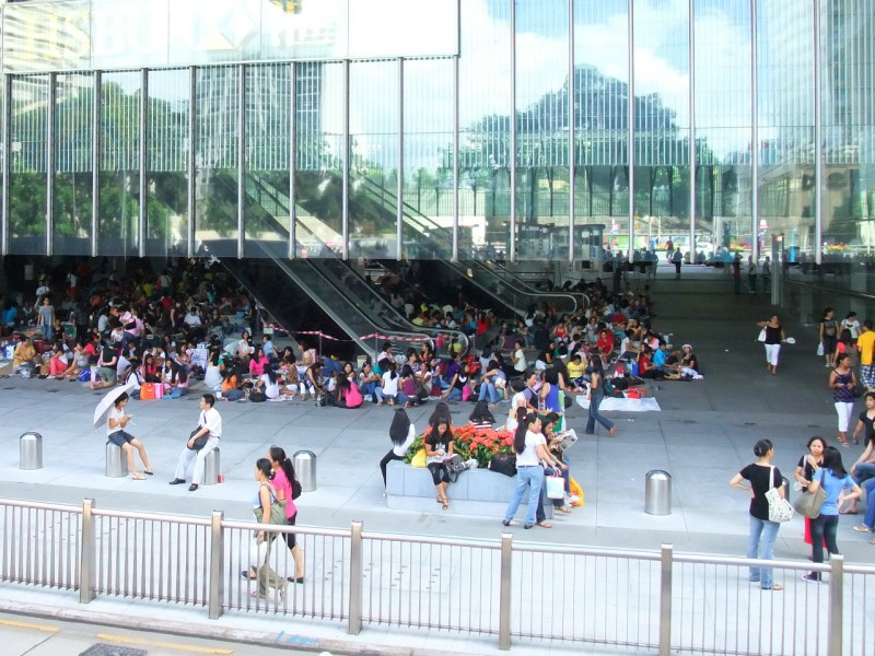 Domestic workers gathered in Central, Hong Kong Island. Photo: Wikimedia Commons
