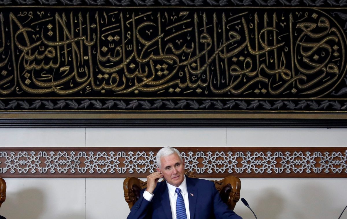 US Vice President Mike Pence listens during a meeting with Indonesian Muslim community leaders at the Istiqlal Mosque in Jakarta, Indonesia April 20, 2017. Photo: Reuters, Beawiharta