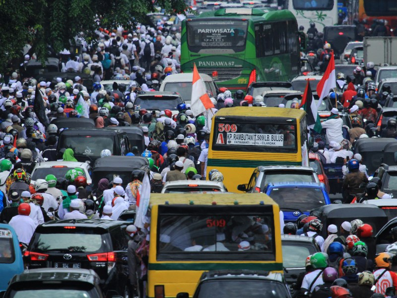Motorists stuck in traffic at one of Jakarta's main roads. The largest infrastructure spending program in the Indonesian capital's history is expected to help but not solve massive traffic jams. Photo: Getty Images