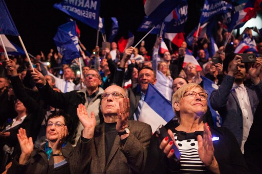 Supporters of French presidential candidate Marine Le Pen at a rally in Lille. Photo: AFP