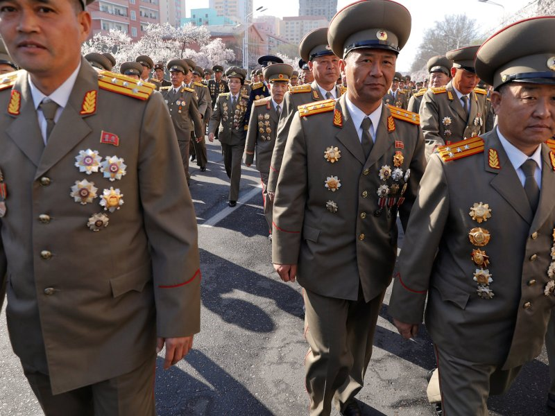 North Korean military officers attend a ceremony in Pyongyang on April 13. Photo:  Reuters