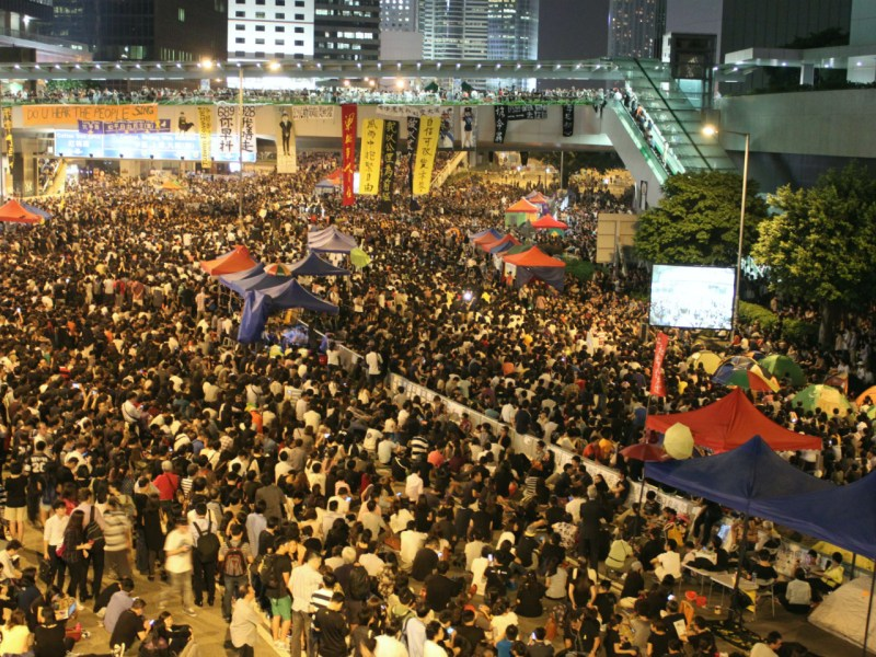 Thousands of pro-democracy protestors occupied Connaught Road in Admiralty in 2014. Photo: Asia Times