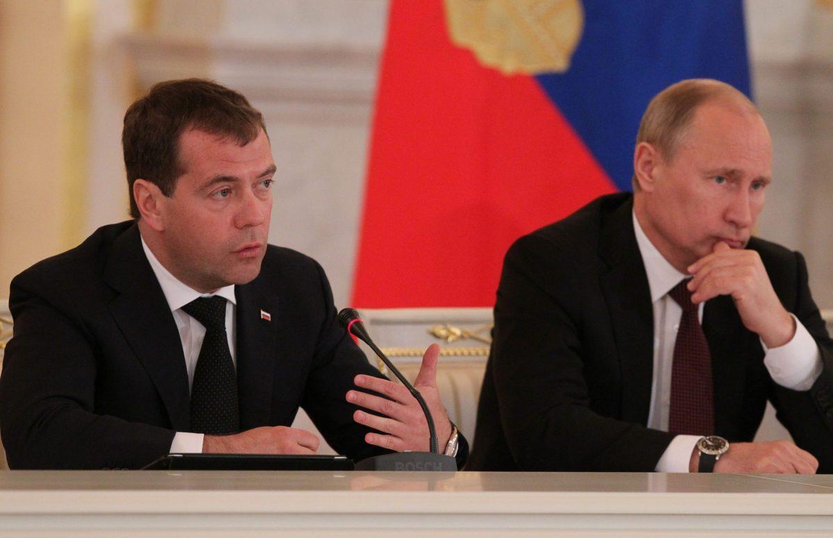 Prime Minister Dmitri Medvedev (left) and President Vladimir Putin. Photo: Wikimedia Commons