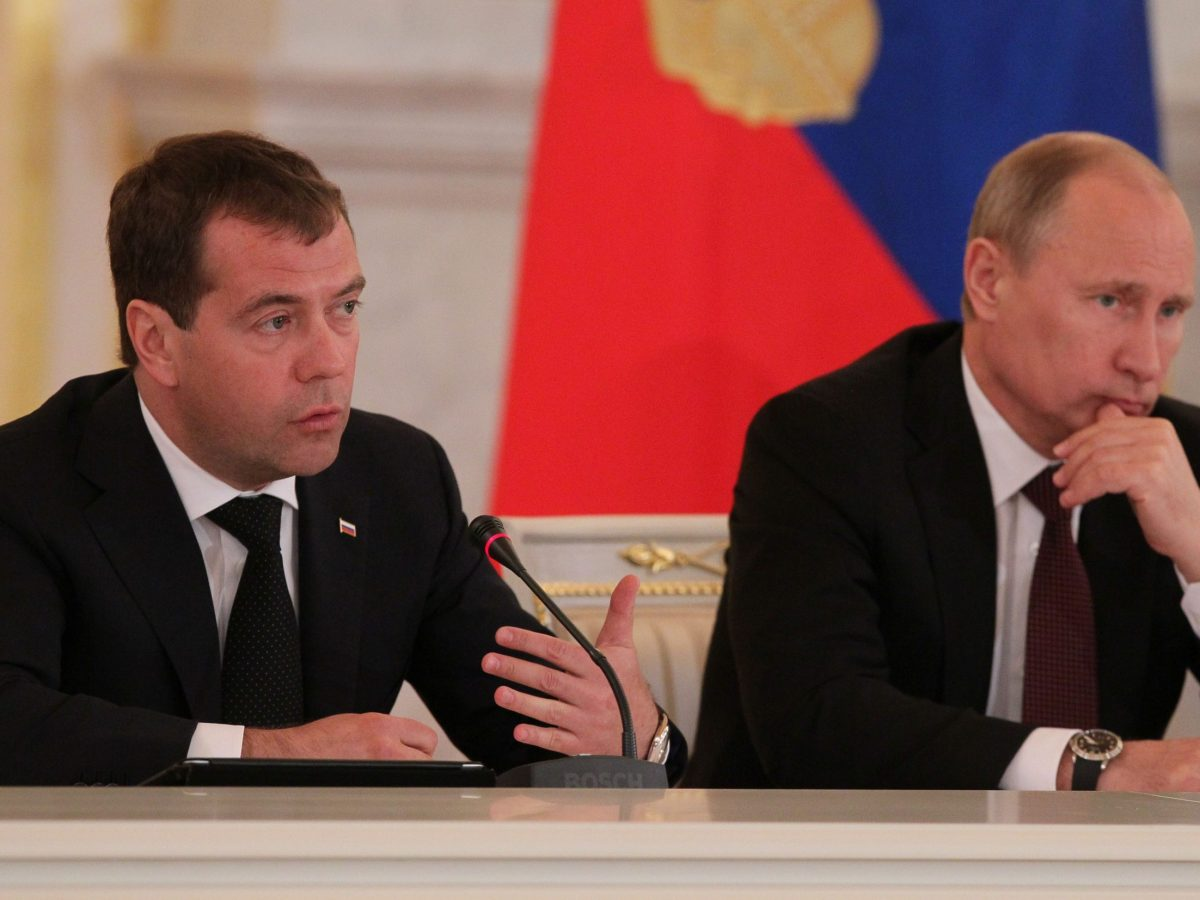 Prime Minister Dmitri Medvedev (left) and President Vladimir Putin. Photo: Wikimedia Commons
