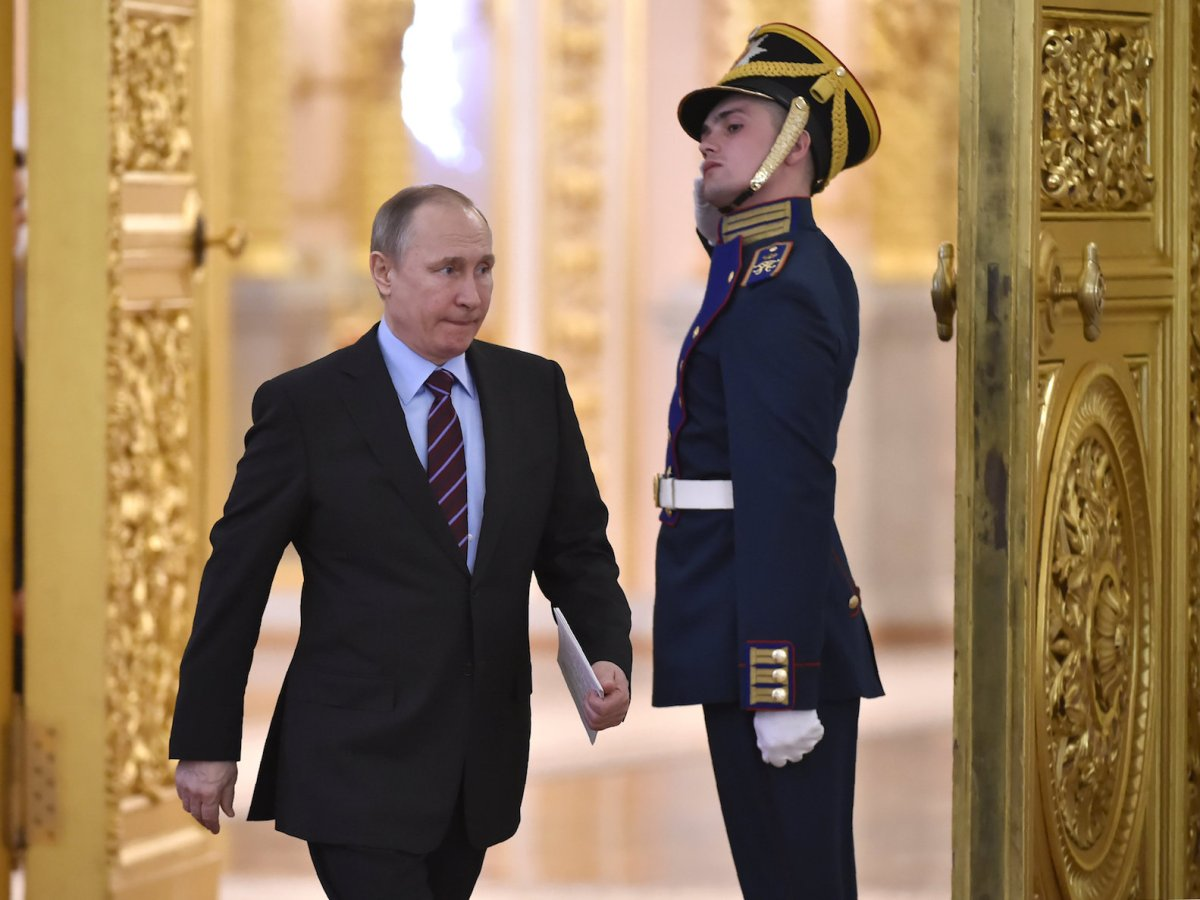 Vladimir Putin arrives on April 20, 2017, to chair a meeting of the Pobeda (Victory) Organizing Committee at the Kremlin, with a focus on promoting objective information on Russia's history and present, including its role in the victory over Nazism. Photo: Reuters