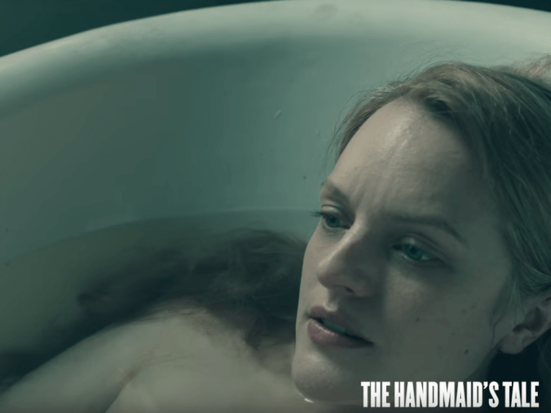 Elisabeth Moss as Offred in The Handmaid's Tale on Hulu. Photo: Screen shot from trailer