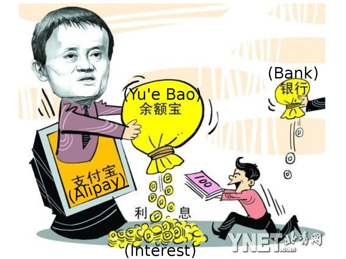 Cartoon depicts Jack Ma cashing in on the growing Yu'e Bao money market fund. Source: Beijing Youth Daily
