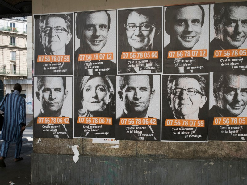 Posters showing some of the candidates in the French presidential election which is challenging decades of traditional party politics. For the first time in 60 years the main parties of the left and the right could be unrepresented in the second and decisive round of voting. Photo: AFP/Joel Saget
