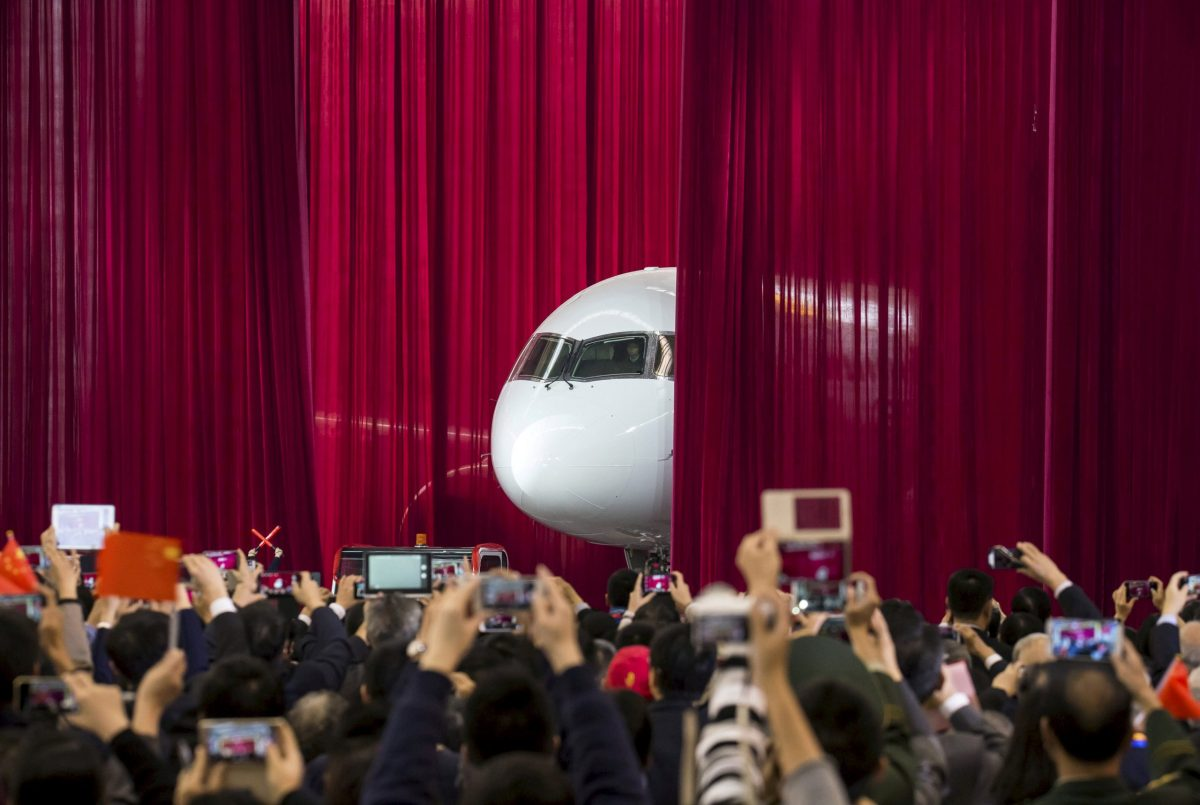 A C919 model is displayed at an aviation exhibition. Photo: Reuters / China Daily