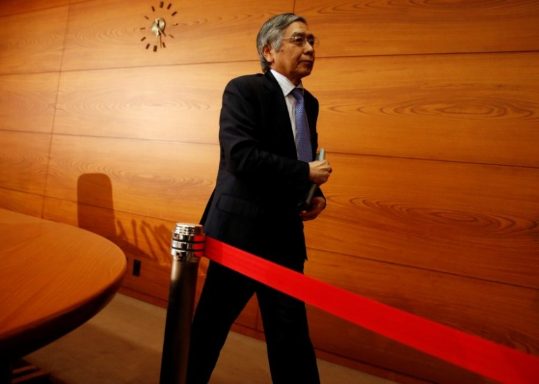 Bank of Japan (BoJ) Governor Haruhiko Kuroda is pictured at the bank's headquarters in Tokyo on April 27, 2017. Photo: Reuters / Kim Kyung-Hoon