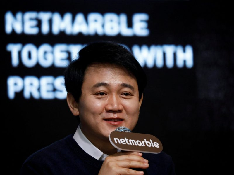 Bang Jun-hyuk, founder and chairman of the board of Netmarble Games, speaks in Seoul. Photo: Reuters/Kim Hong-ji