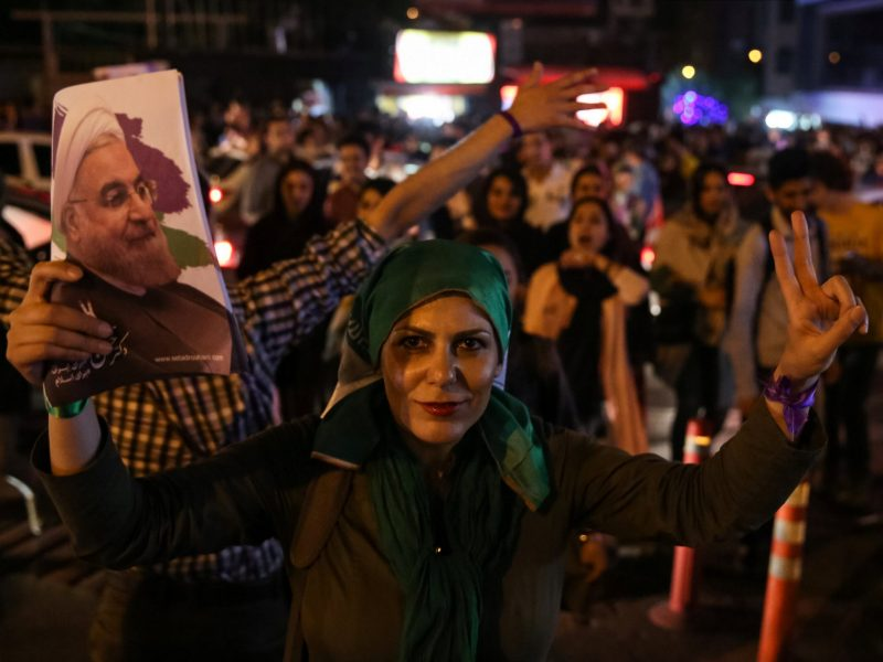Supporters of Iranian president Hassan Rouhani celebrate his victory in the presidential election in Tehran, Iran, May 20, 2017. Photo: Reuters/TIMA