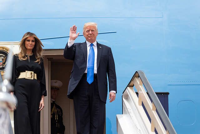 US President Donald Trump and his wife Melania arrive in Saudi Arabia on May 20. Photo: Flickr