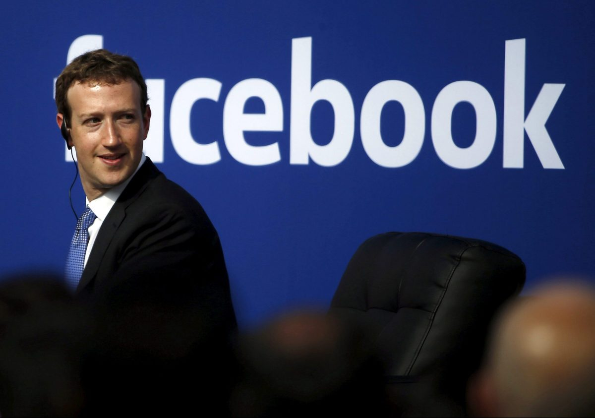 Facebook CEO Mark Zuckerberg is seen on stage during a town hall at Facebook's headquarters in Menlo Park, California September 27, 2015. Photo: Reuters/Stephen Lam/File Photo